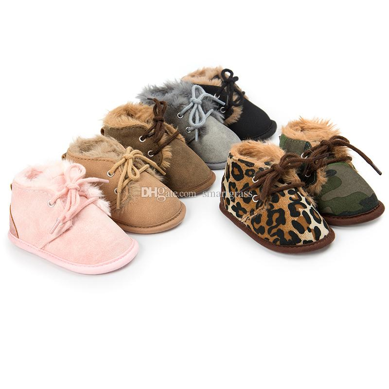 5 Цвет младенца пинетки леопардовый Мягкая ходунки Детская обувь Узелок руно Внутренние Смазливая зимние сапоги 17101001
