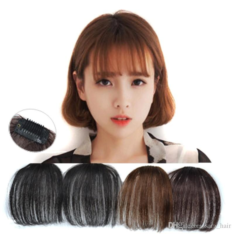 Sara Handmade 100% Human Hair Clip In Natural Air Bangs Fringe Front Bang Hair Extension Hairpiece 3CM*14CM