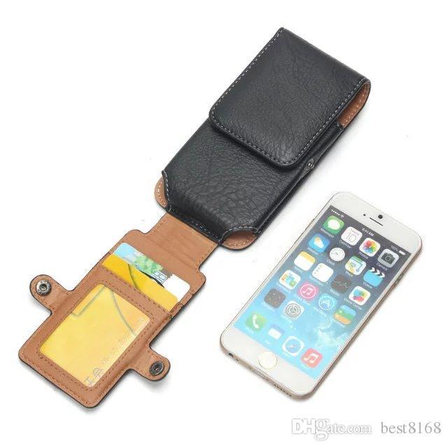 Iphone 7 6 6 S 5 5 S / Galaxy S8 / S7 / Kenar / S6 / Artı Evrensel Celular Cep Telefonu Dikey Kalça Taş Deri Kılıf Toka Kapak PU Kılıfı Kapak