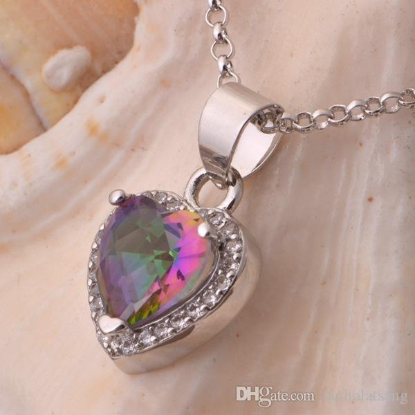 Women Heart Shape Genuine Rainbow Fire Mystic Topaz Ring Pendant Earring Wedding Engagement Set 925 Solid Sterling Silver