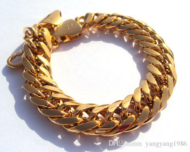 "Wholesale - free shipping real fine Gool Men's 9"" 24k solid yellow gold real watch bangle bracelet jewelry 230mm"