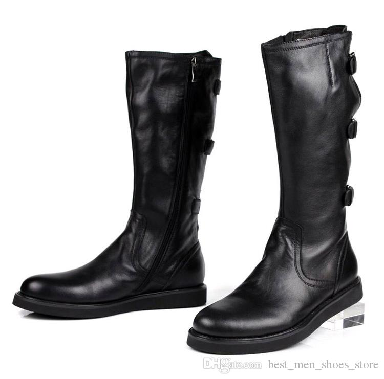 British Style Buckle Mens Military Martin Boots Soft leather Knee Boots High Top Casual Leather Boot