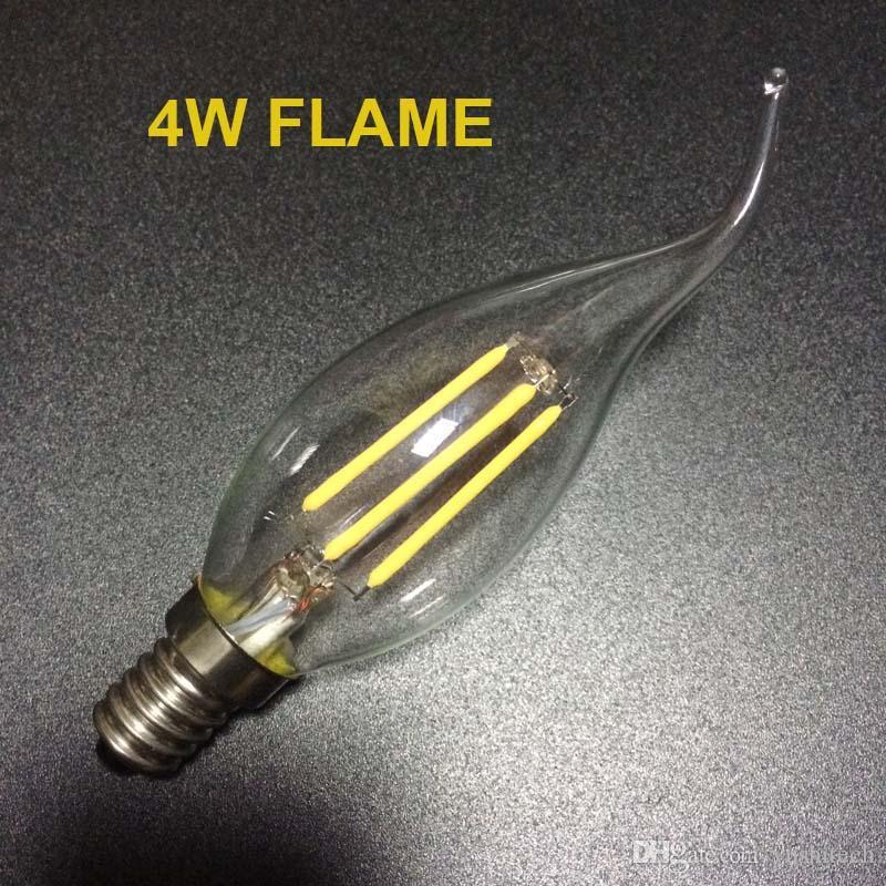 E12 E14 E26 Base Regulável 2/4/6 W Candelabros de Filamento LED Candelabro 110lm / w 2700K 110 V 220 V C35 Tira Bala Superior C35T Candelabros De Lâmpada Dobrado CE Aprovação UL