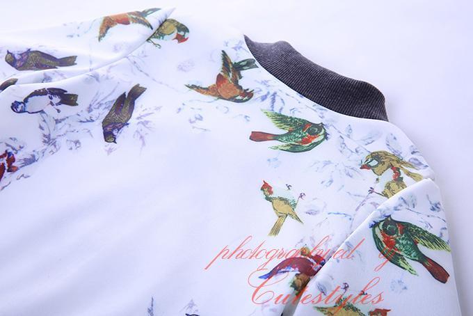 Cutestyles 소년을위한 새 패션 작은 새 인쇄 코트 목 목걸이 모직 야구 Outwear 긴 소매 자 켓 OC90321-15L