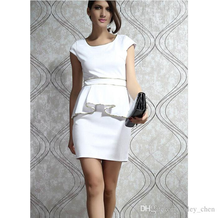 97601f2867f5 2019 M L XL Plus Size Dress New Fashion Women Black/White Ivory Gold Trim Peplum  Dress White Elegant OL Work Dress From Miley_chen, $17.07 | DHgate.Com