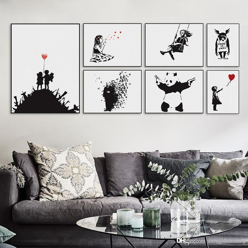 2018 Banksy Black White Modern Abstrcat Pop Hipster A4 Art Print Poster  Wall Picture Living Room Canvas Painting No Frame Home Decor From  Shengzhenming, ...