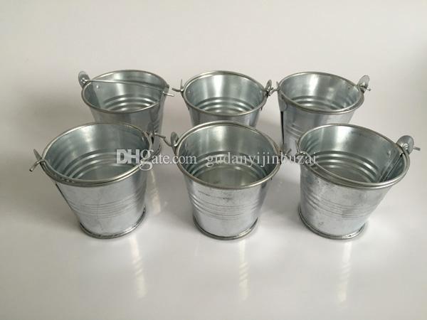 Cubos de metal Mini jardín de plata Suculentas lindas Sembradora de hojalata Mini cubetas galvanizadas para plantas pequeñas