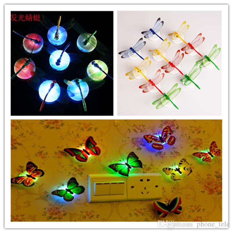 Best Led Night Light 3w Led Butterfly Dragonfly Stick On Lamp Wall