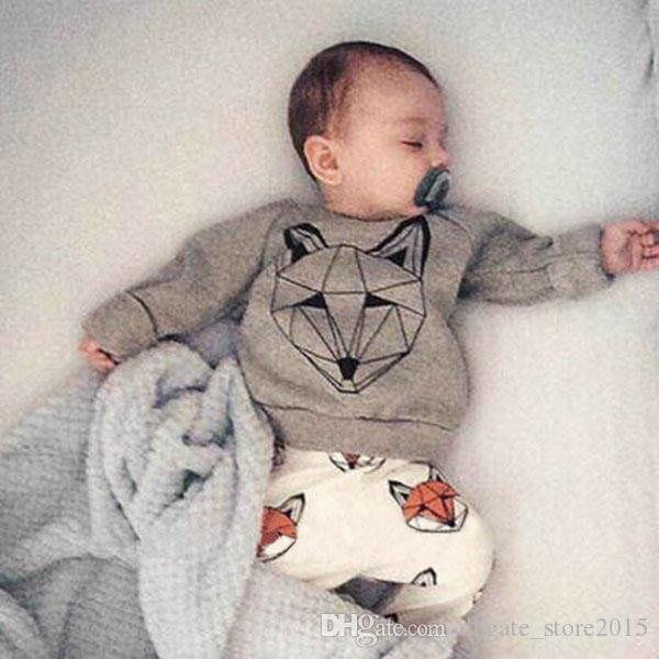 Sweet Toddler Kids Boys Girls Fox Outfits Fall Winter Long Sleeve tees and Pants 2pcs Sets Cotton Cute Boys Clothing