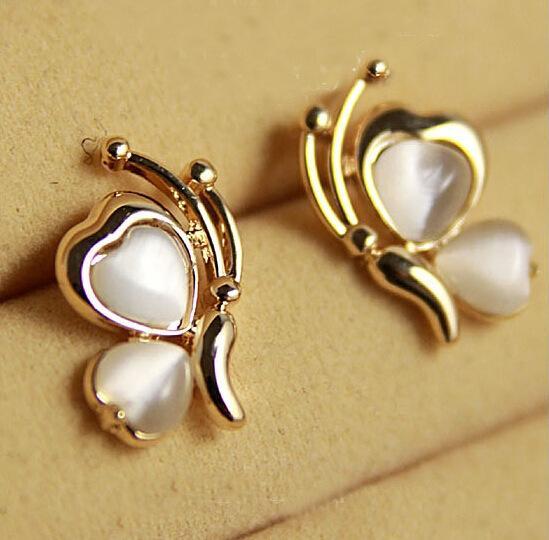 Earrings for Women Chic Lovely Opal Butterfly Ear Stud Earrings Ear Pin for Women Xmas Gift Stud Earring