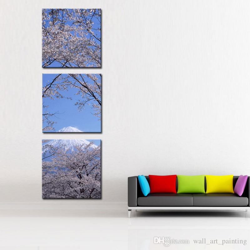 Canvas Print Wall Art 3 panel Painting For Home Decor Peak Of Mount Fuji With Cherry Blossom Sakura In Blue Sky View From Lake Kawaguchiko