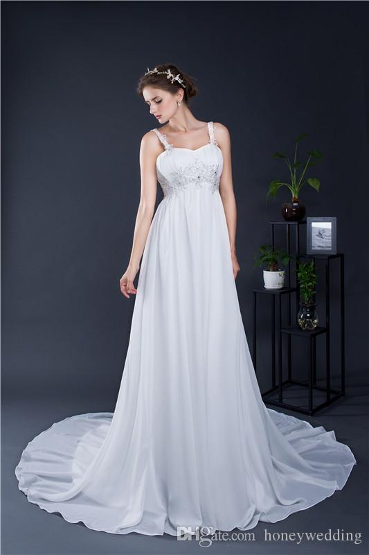 Discount Cheap Maternity Wedding Dresses 2017 Spaghetti Straps Appliques Draped Chiffon Plus Size In Stock Real Photo Pregnant Bridal Gowns Under 100 A Line