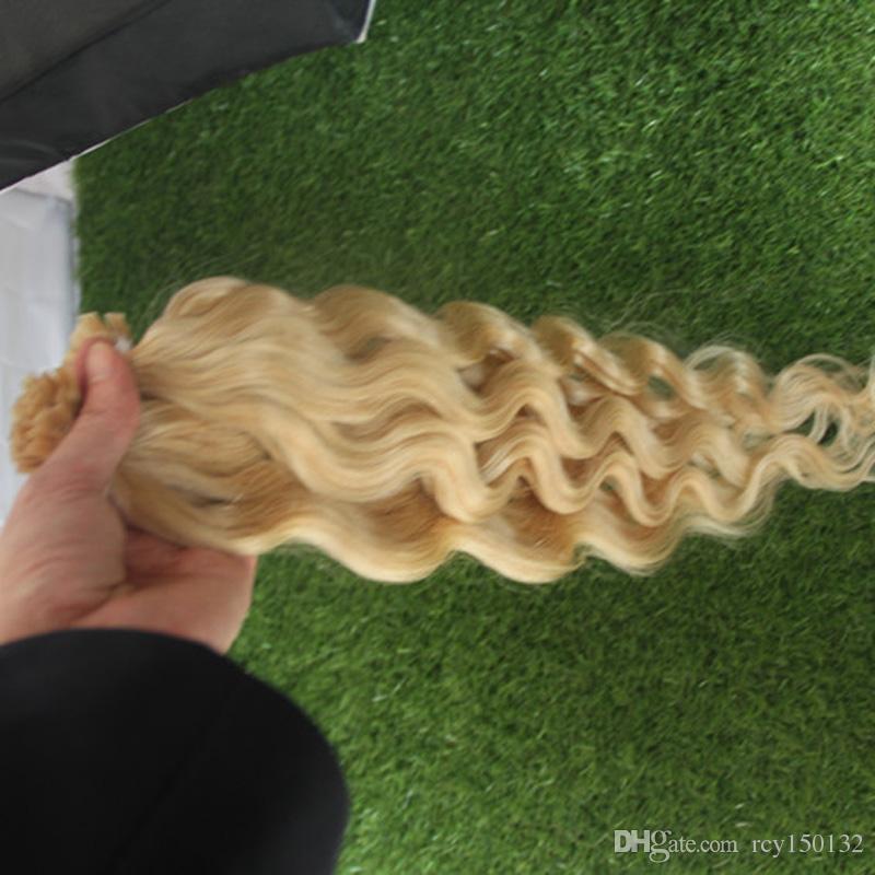 613 отбеливатель блондинка бразильская девственница плоский кончик волос 100 г Купить человеческие волосы интернет 100S волна тела предварительно связали кератин палку кончик человеческих волос