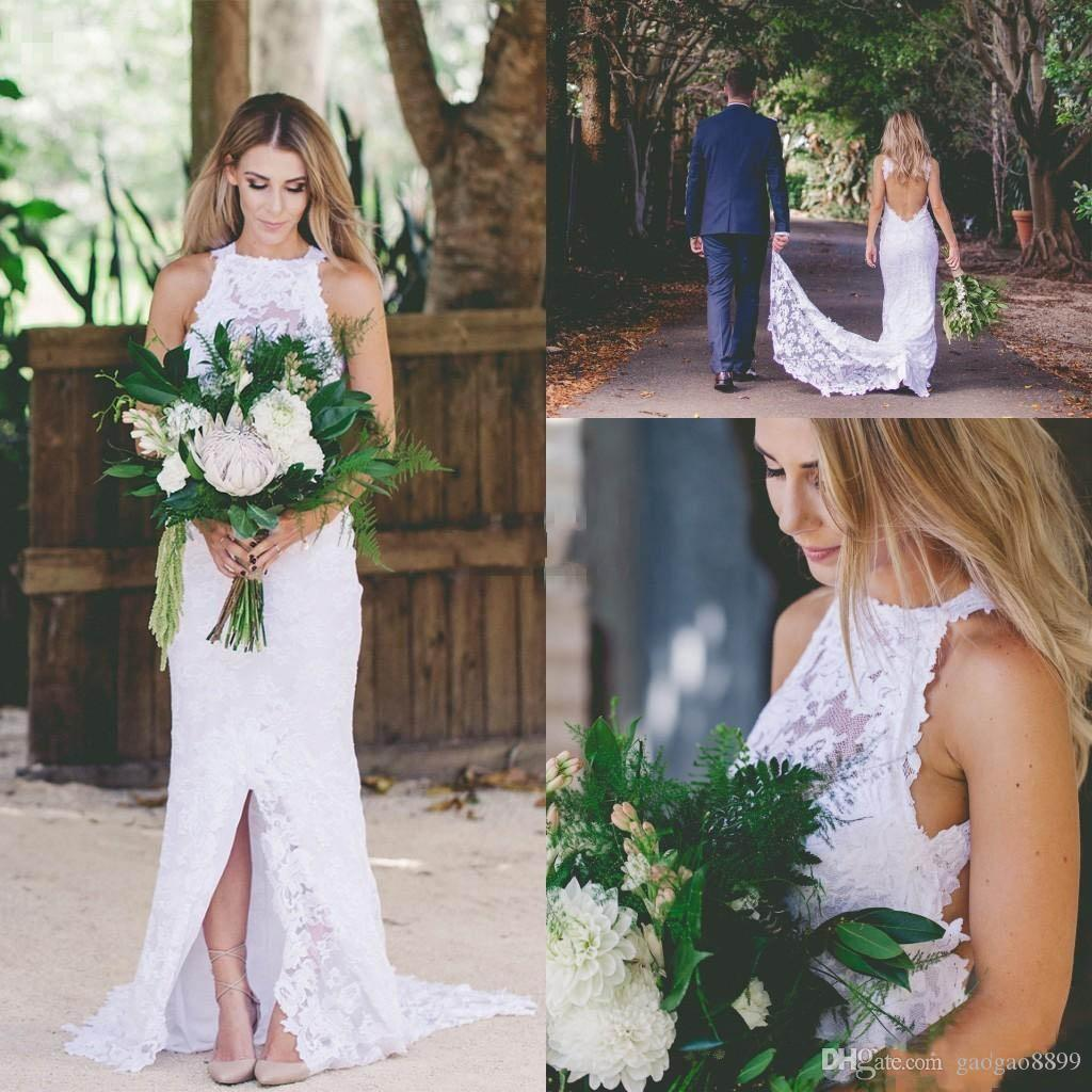 2019 Bohemia Country Wedding Dresses Bridal Gowns Keyhole Back Font Split with Train Mermaid Cheap Outdoor Garden Beach Bridal Gowns