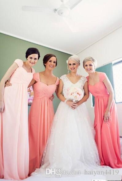 Compre Simples Vestidos De Dama De Honra 2016 Barato Cap Mangas Rosa Coral Chiffon Verão Praia Longa Para O Casamento Plus Size Vestido De Festa