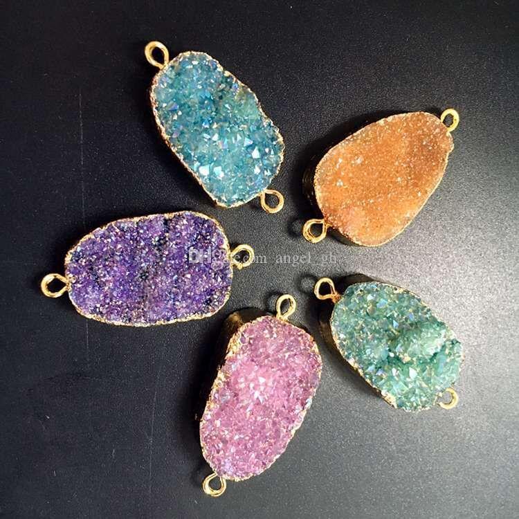 on SALE, Geode Druzy Pendant Connector, Druzzy Drusy Jewelry, Gold Plated Titanium Quartz Druzy Gemstone Pendant Connectors