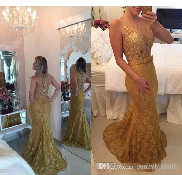 2017 gold spitze prom party kleider meerjungfrau sexy illusion abendkleider neuen abend besonderen anlass dress für frauen nach maß