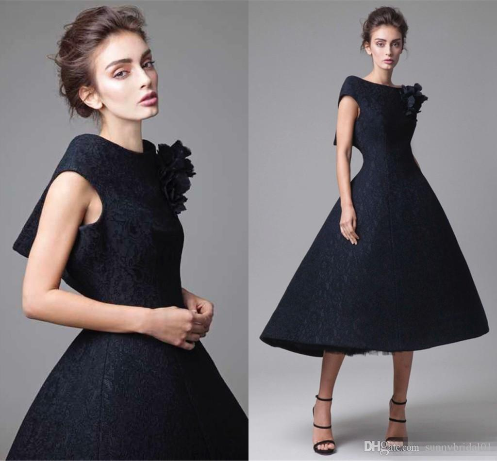 Krikor jabotian Short Lace Evening Dresses 2017 Arabic Deep V Back Black Formal Party Gowns With Sexy Hi Lo Style Girls Pageant Gown
