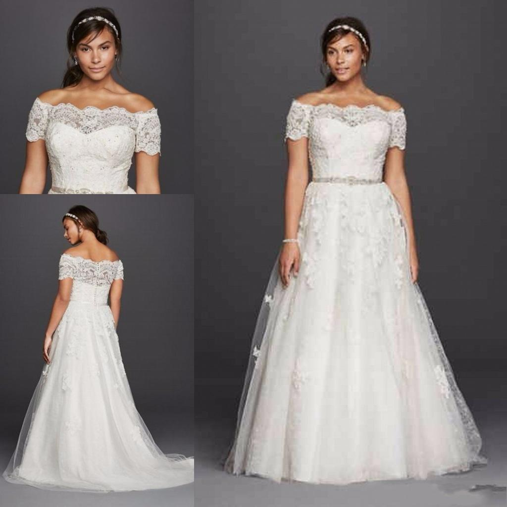 2019 New Jewel Scalloped Sleeve Plus Size Wedding Dresses Lace Applique Off-shoulder Beaded Belt Country Boho Wedding Gowns Cheap 037
