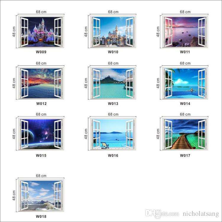 10 Styles Beautiful Sky Tropical Ocean 3D Window View Blue Sea Home Decor Wall Sticker Creative Scenery Living Room Office Decals Stickers