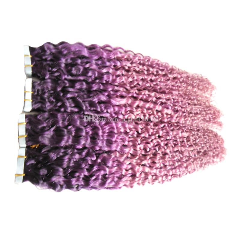 Kinky Curly Skin Weft Tape Extensions Purple/Pink ombre Hair Extensions 200g Human Hair Tape In Hair Extensions
