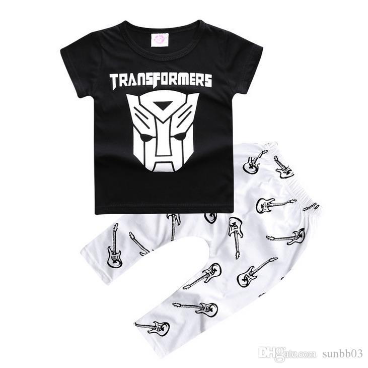 Summer Ins Infant Baby Set Boys Cartoon Transformers Black Tops T-shirt + Guitar Pants Children Outfits 12092