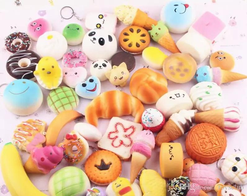 2017 Bonito Jumbo kawaii Squishy Lento Rising Pingente Macio Mini Pão De Bolo de sorvete Squishies Telefone Móvel Correias Caçoa o Presente