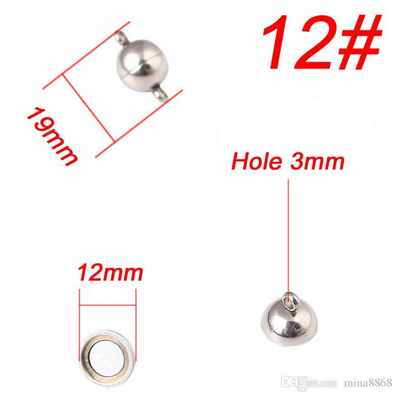 6/8/10 / 12mm Magnetic Clasps Jewelry Findings in acciaio inossidabile magnete fibbia fibbia in forma di collana fatta a mano bracciale a catena