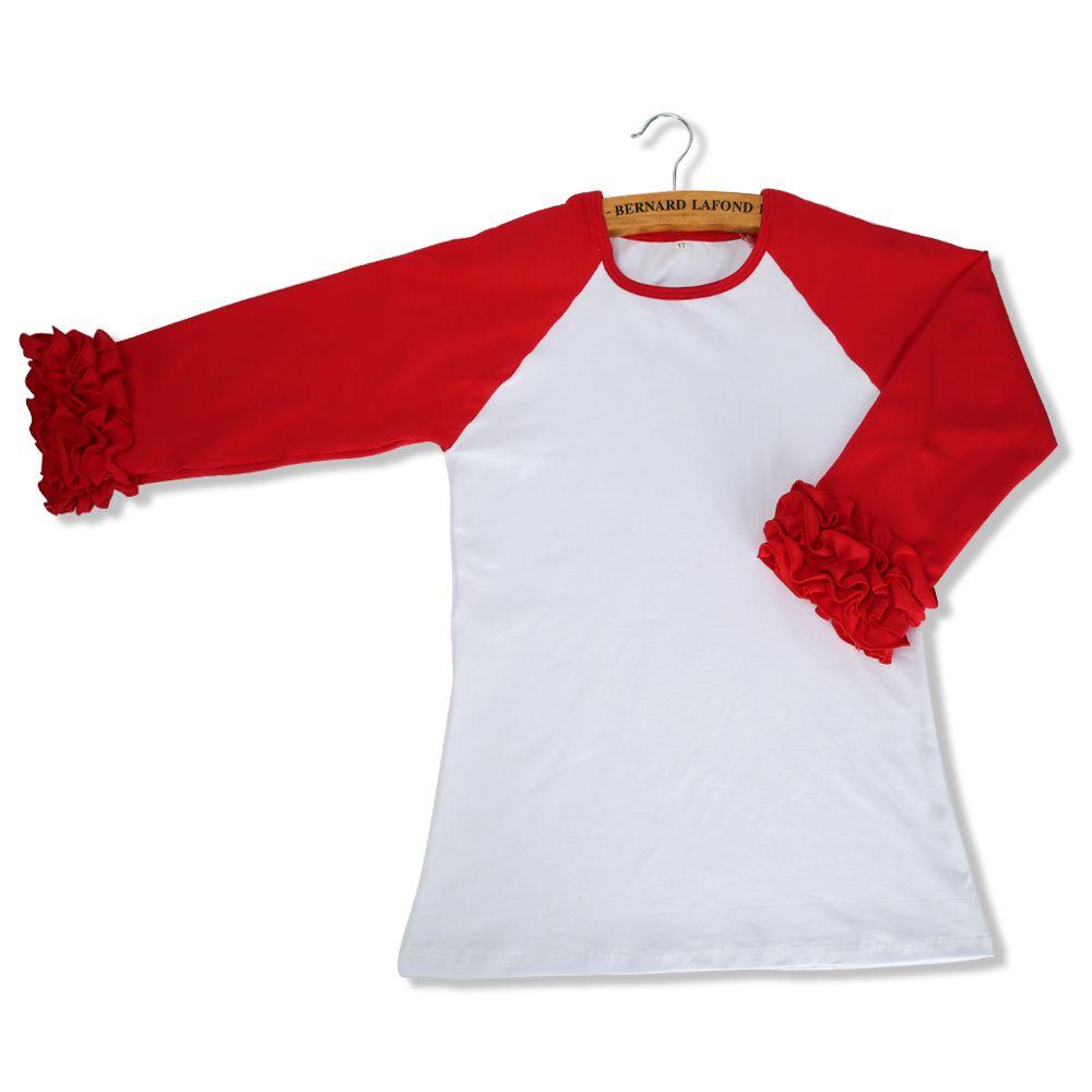 2017 Kids Spring Autumn fashion ruffle shirt Baby Girl long sleeve Cotton Tops raglan Cloth patchwork outwear for 1-6T