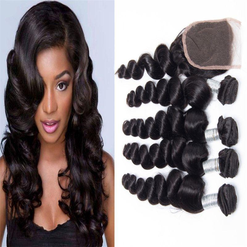 8A Brazilian Virgin Hair Weaves With Lace Closure Loose Wave Virgin Hair 4 Bundles With Closure Brazilian Wavy Human Hair