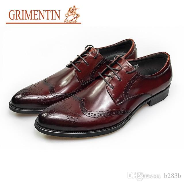 GRIMENTIN Newest Brown Wedding Shoes Men Genuine Leather Italian Style  Formal Shoes Lace Up Business Male Shoes Size 38 44 S21 High Heel Shoes Mens  Casual ... 2bbcd23d4123