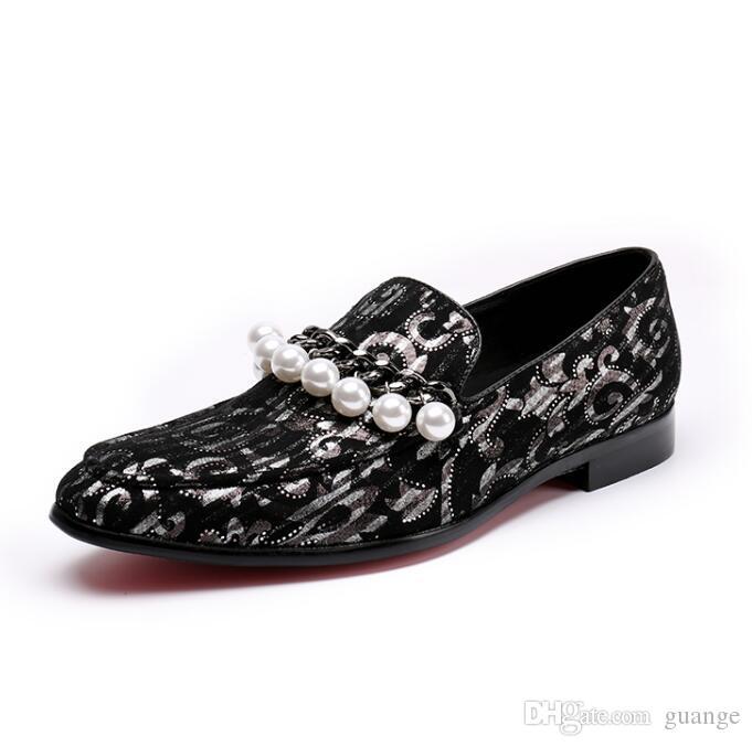 Мужчины украшения бисером мокасины обувь пейсли британский досуг ну вечеринку квартиры обувь панк-рокер мужчины свадебные туфли Z101