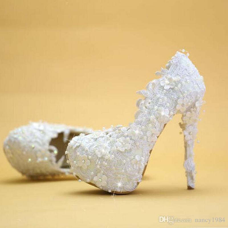 Wedding Shoes White Lace Elegant Bride Dress Shoes Thin Heel Platform Bridesmaid Shoes 2019 New Designer Women Party Pumps