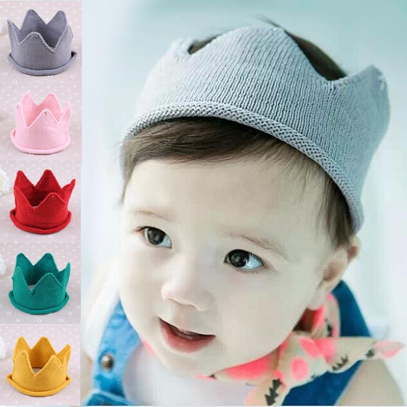9390eaa7d27 Baby Knit Crown Tiara Kids Infant Crochet Headband Cap Hat Birthday ...