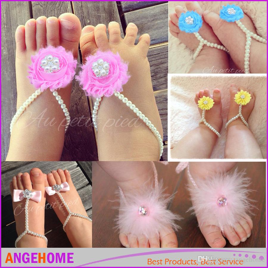 Pearls Baby Toddler Barefoot Sandals Jewelry Baby Girl Feet Ring ...