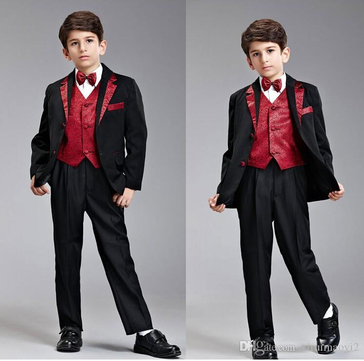Custom Made Black Boy's Formal Occasion Children Wedding Suit Boys Attire Boy Suit Tuxedo Blazers Set F 1009