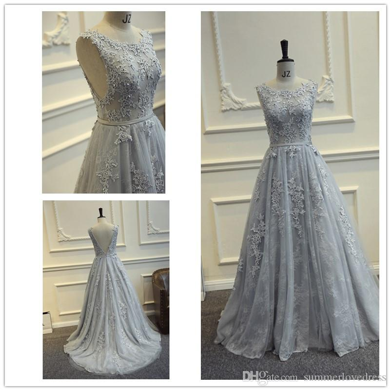 c1a9b3bf05 2017 New Elegant Silver Grey Lace A Line Floor Length Prom Dresses ...