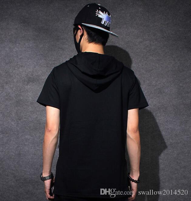 Fashion Men t shirt tyga cool oversized Gold side zipper hip hop extended hood t-shirt tee top hba jay-z casual lengthen tee shirt