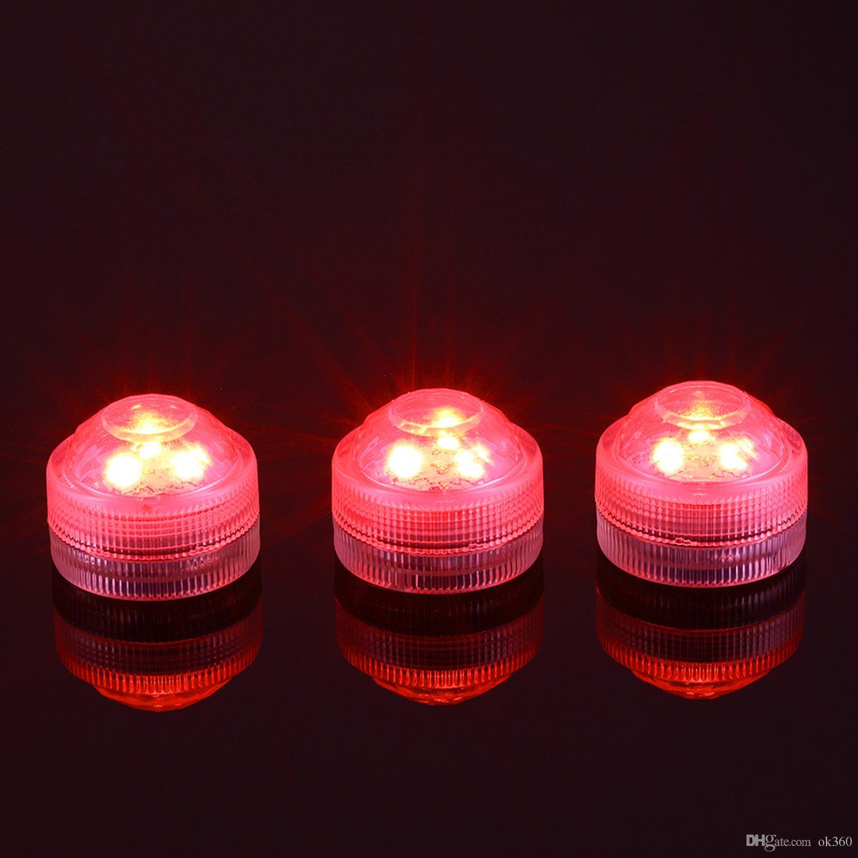 12 teile / los Hochzeitsdekoration 3 RGB LED Fernbedienung Mini Wasserdichte Tauch Led Party Lichter Mit Batterie Für Halloween Xmas Party