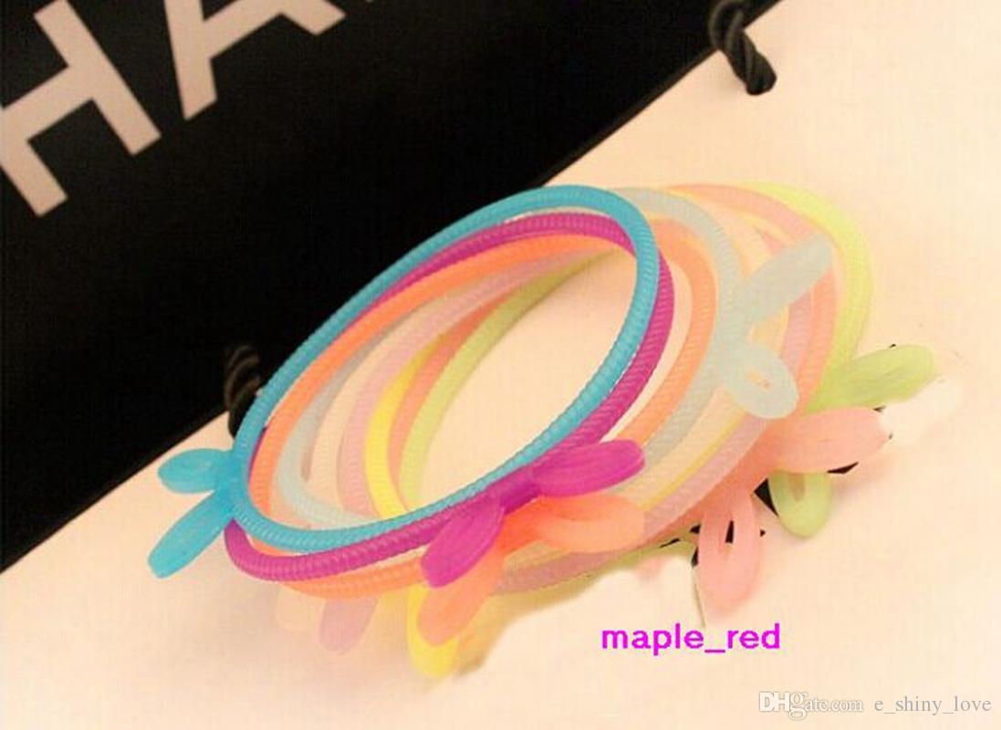 Hotsale / Mischfarbe Silikon-Gummi-elastisches Armband-Armband Hairband für Mädchen Frauen-Schmucksachen mit Nachtlichteigenschaften