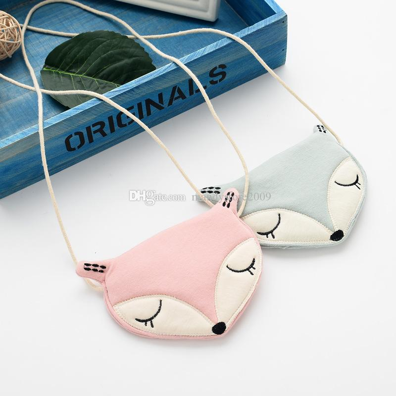 Cute Korea Style Little Fox Head Kids Bag Blue Pink Cotton Kids Messager Bag Cartoon Kids Messager Wallet Lovely Exchange Purse