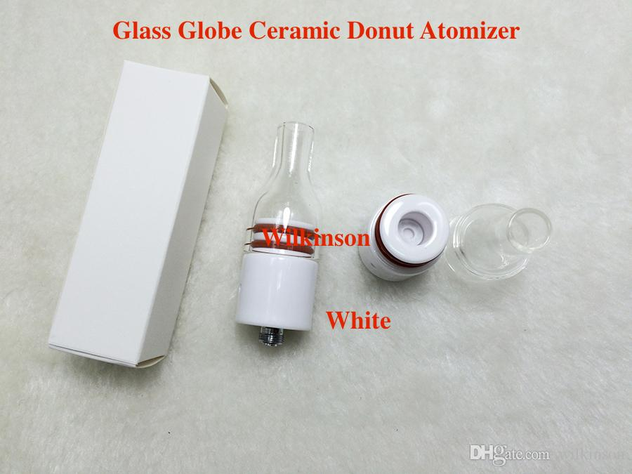 DHL Free the second generation wax glass globe ceramic donut atomizer no coil no wick ceramic heating vaporizer for Box Mod
