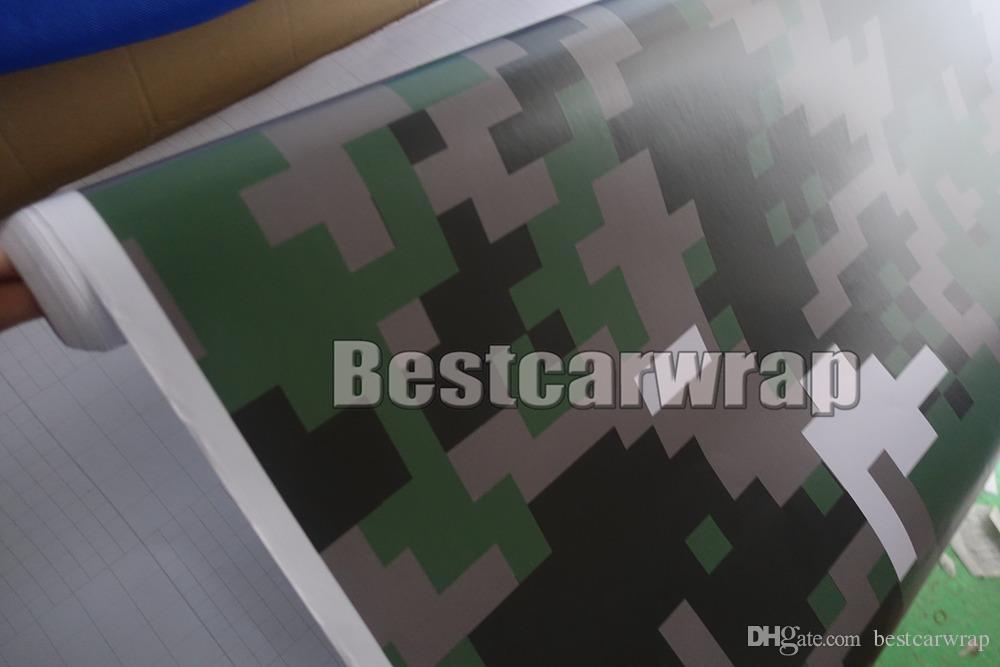 Militar Digital Tiger Camo Digital Papel de envolver para automóvil Con burbuja de aire Gráficos de camuflaje de píxeles gratis ARMY Etiqueta engomada del coche Película 1.52x10M / 20M / 30M