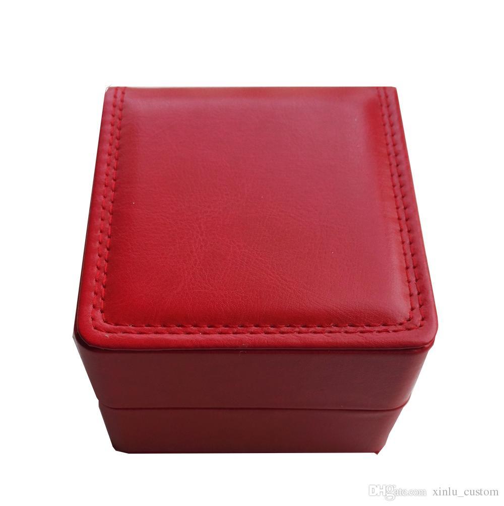 Qualità a buon mercato all'ingrosso CUSTOM LOGO BOX nero / marrone / rosso in pelle cucire interni in velluto cuscino gioielli in pelle scatola di immagazzinaggio cassa del braccialetto