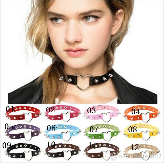 Wohloesale New Fashion Lady Jewelry Personalized Gothic PU Leather Collar Spike Choker Silver Tone Studs Metal Punk Necklace