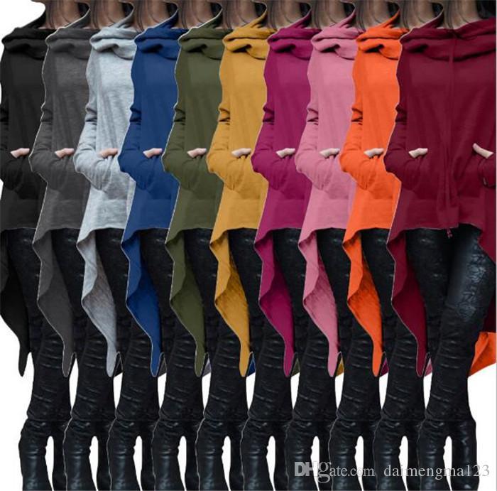 10design Sudaderas Con Capucha Chaquetas de Manga Larga Irregular Mujeres Solid Casual Abrigo Blusas Otoño Sudaderas Jersey Outwear Jumper Ropa Mujer M102