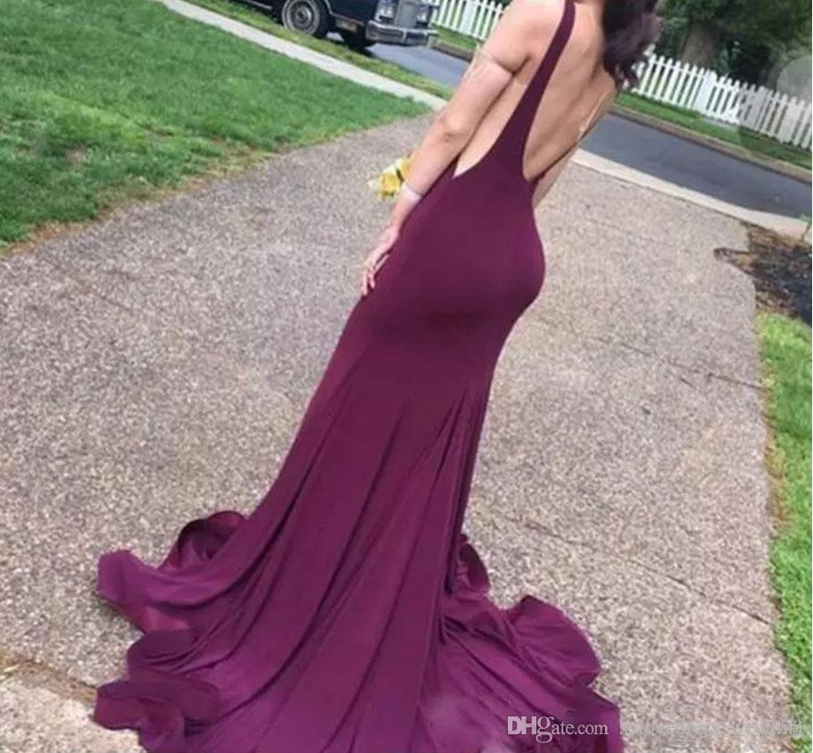 New Sexy Maroon Elastic Satin Backless Burgundy Mermaid Evening Dresses Sleeveless O Neck Party Court Train Prom Dress Formal Gown
