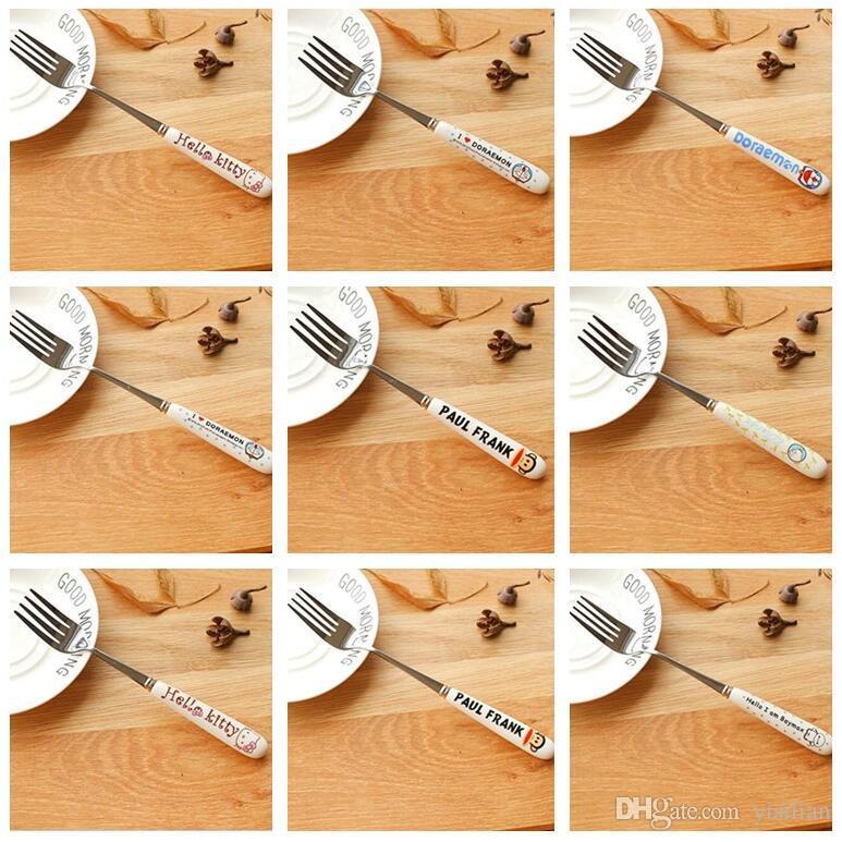 Bom A ++ Pequeno conjunto de garfo de frutas de aço inoxidável fresco dos desenhos animados criativo bonito bolo garfo DF008 misturar a ordem como suas necessidades