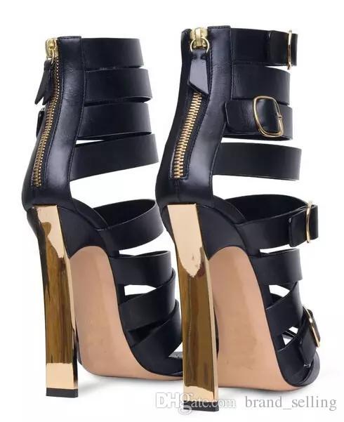 Mode Nouveau 2017 Bande étroite En Cuir Noir Sexy Femmes Talon Haut Sandales Chaussures Or Talon Nom Marque Lady Party Même Chaussures Tous Les Matchs Footwea