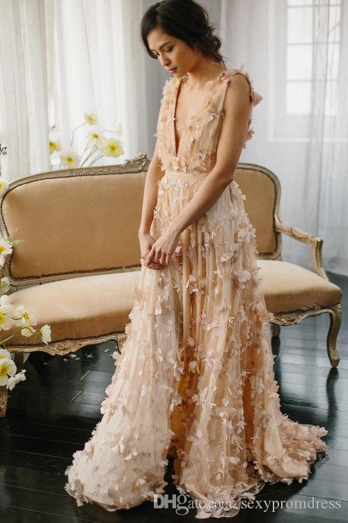 Nude Color Deep V Neck Prom Dresses 2016 Chiffon Appliques Sleeveless Evening Gowns Side Split Floor Length Formal Wear Party Dresses